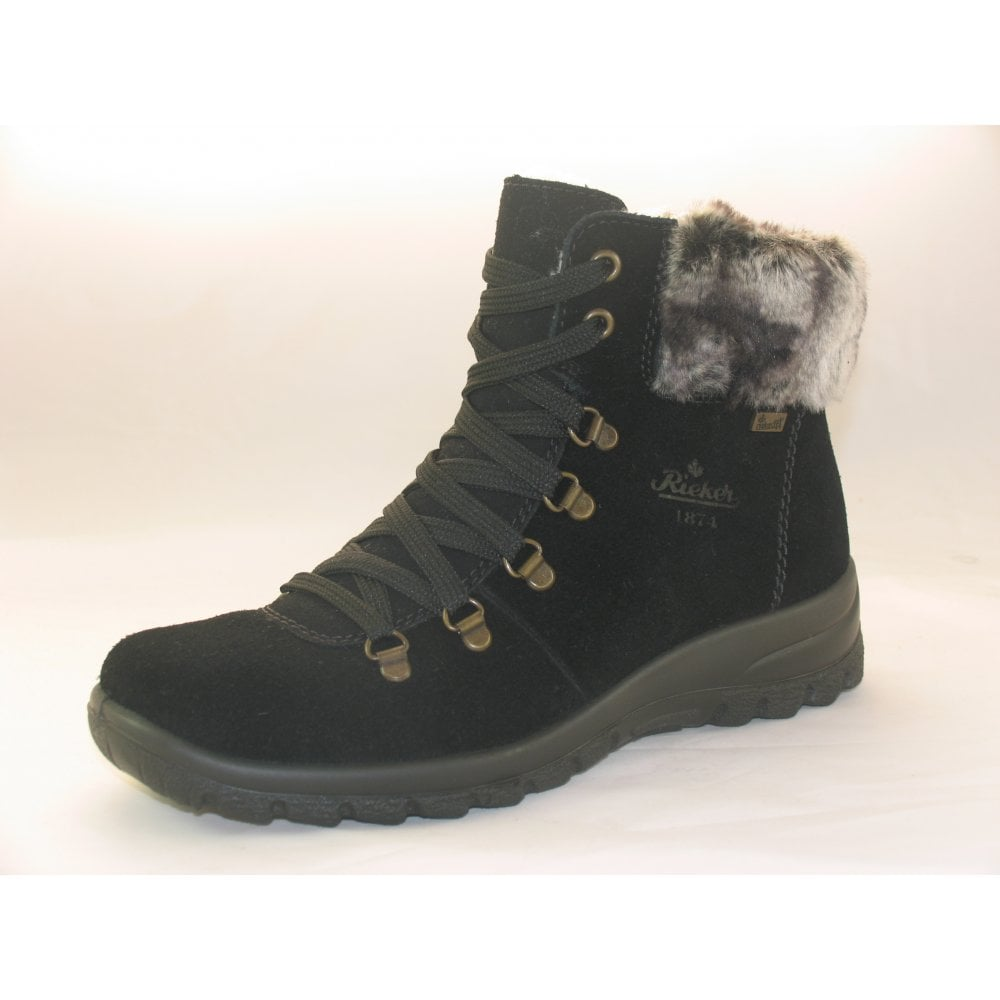 Rieker Womens Z7130 00 Samtcalf Black D Ring Water Resistant Ankle Boots